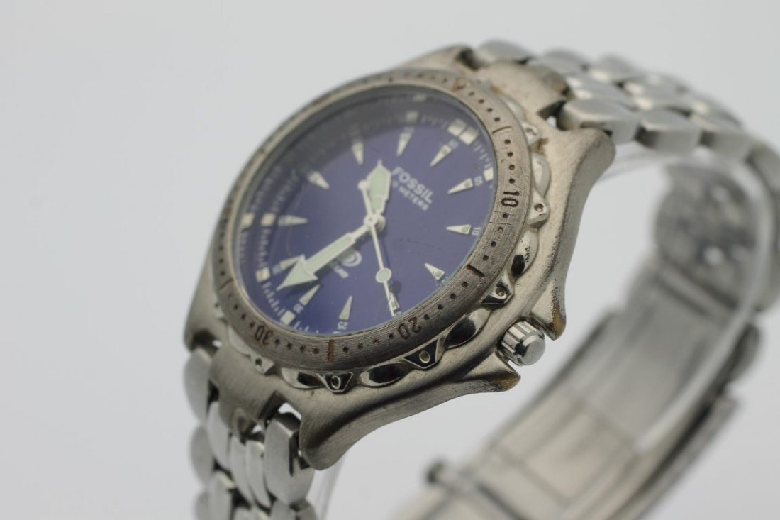 Fossil AM3067 Purple Blue Face Mens Stainless Steel - 3
