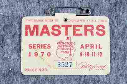 Original Masters Badge PGA Golf Billy Casper 1970