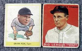 1933 1938 Goudey Heads Up Baseball Lot of 2 Ervin Fox,
