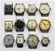 Vintage Mens Watch Lot Of 12 BULOVA GENEVA PIERRE