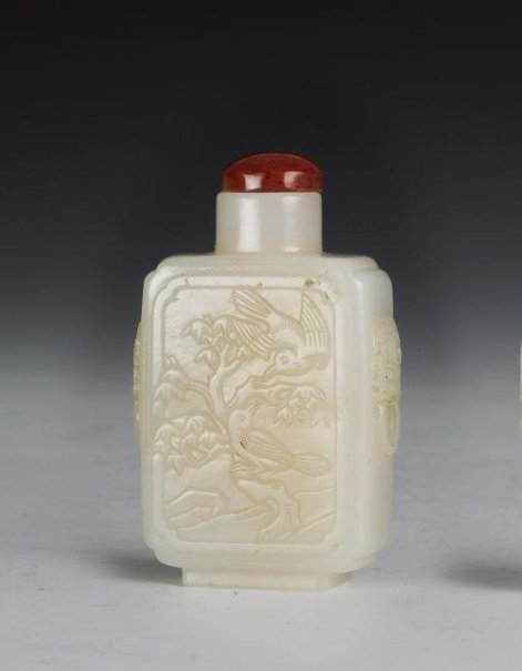 Square White Jade Snuff Bottle, 18th-19th Century