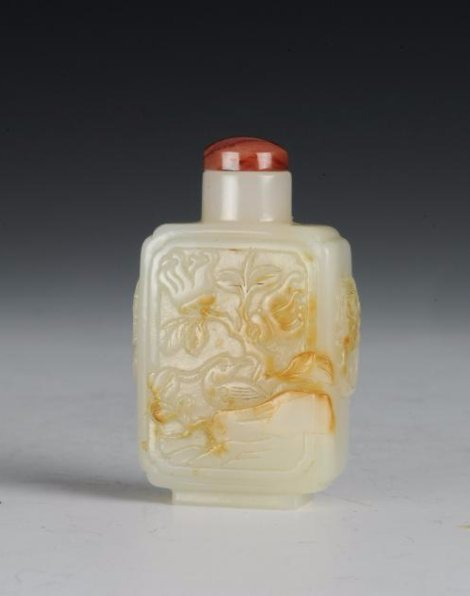 Square White Jade Snuff Bottle, 18th-19th Century - 2