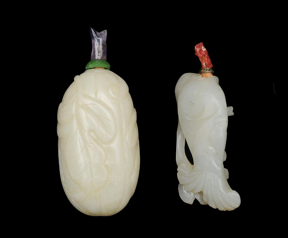 Two Jade Snuff Bottles, 19th Century