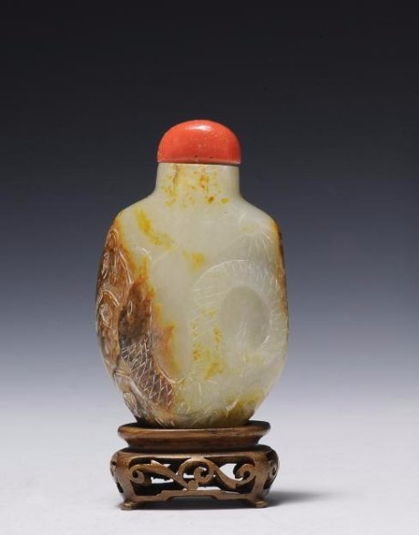 White Jade with Brown Skin Snuff Bottle, 19th Century