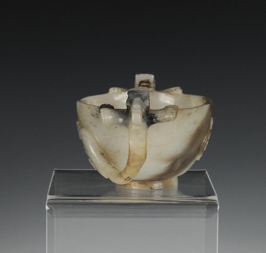 Black & White Jade Cup w/ Two Handles, Ming Dynasty - 2