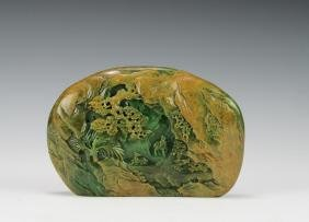 Green Jade Carving of a Landscape, 18th Century