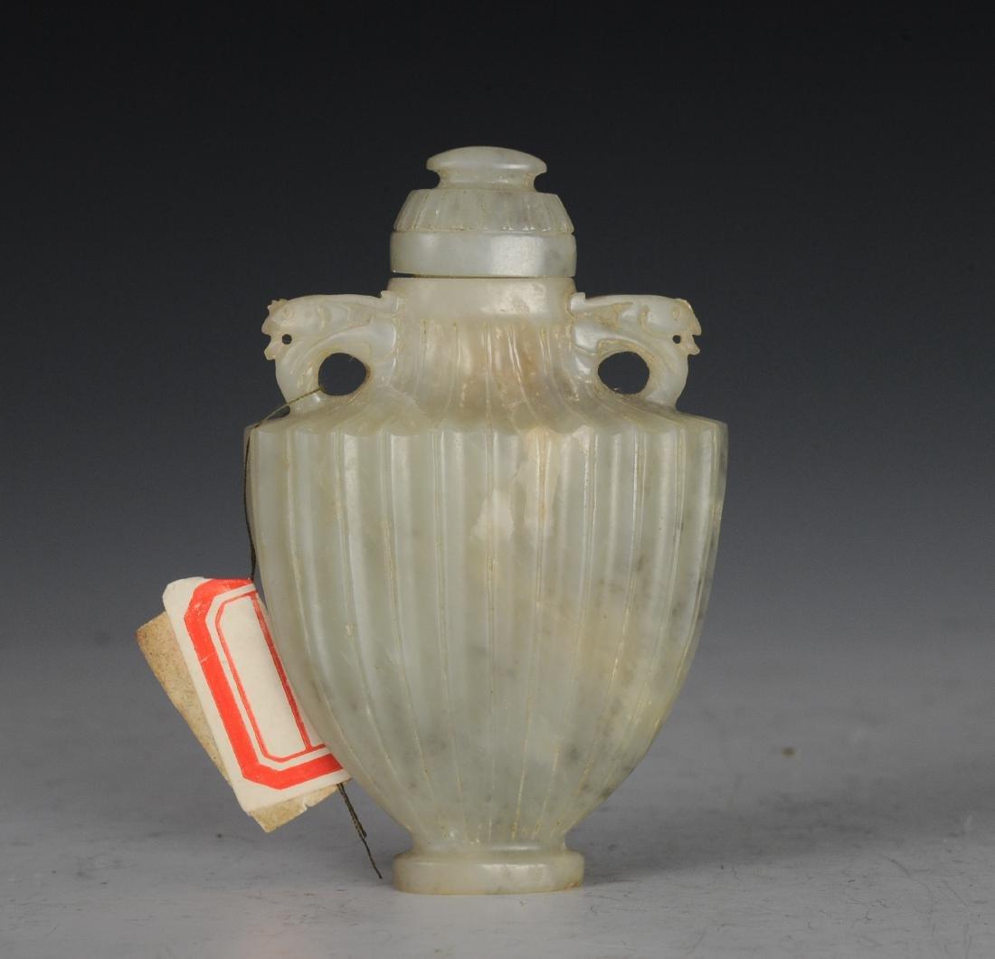 Small Grey & White Lidded Jade Vase, Ming Dynasty - 3