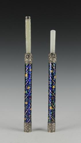 Pair of Knives w/ Jade Handles, 18th Century