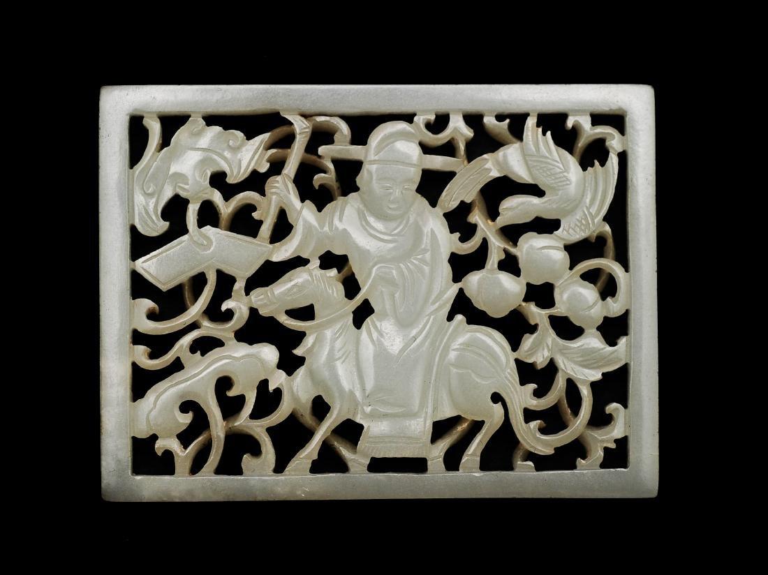 White Jade Openwork Fu & Shou Plaque, 18th Century