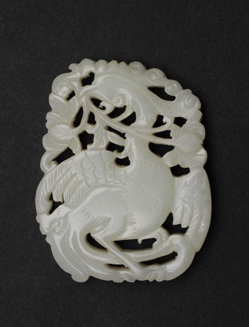 Carved Jade Plaque with Phoenix, 18th - 19th Century - 2