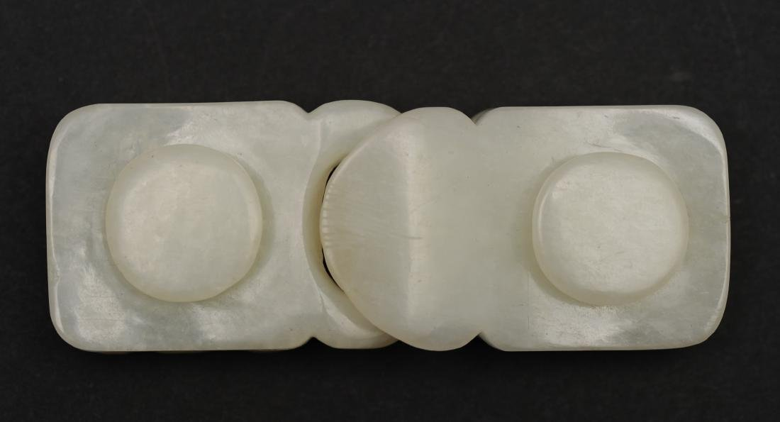 Carved White Jade Belt Buckle, Early 19th Century - 2