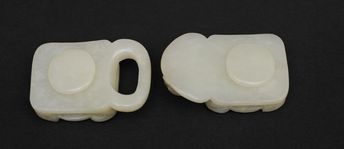Carved White Jade Belt Buckle, Early 19th Century - 4