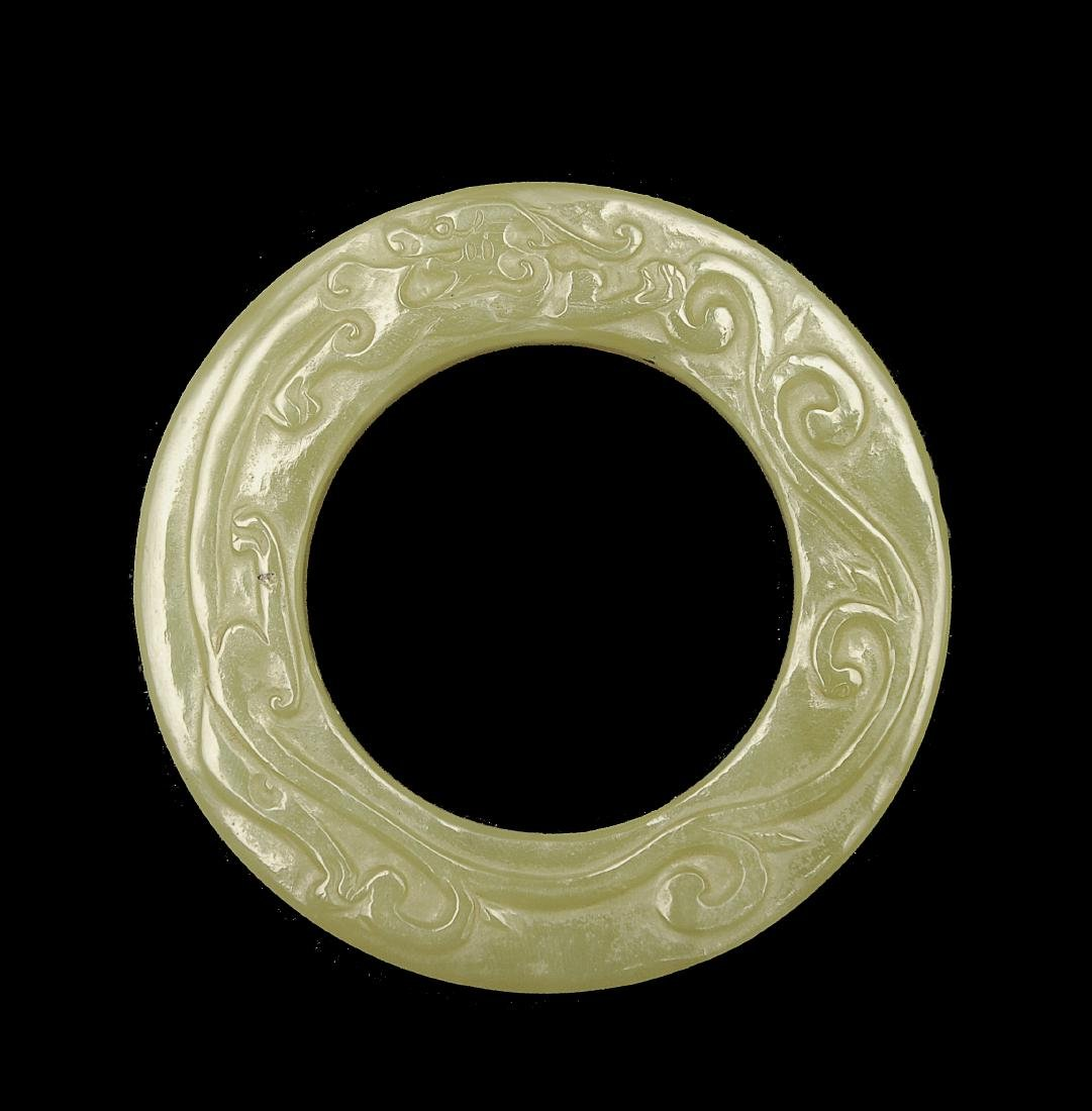 Carved Yellow Jade Ring, Ming Dynasty