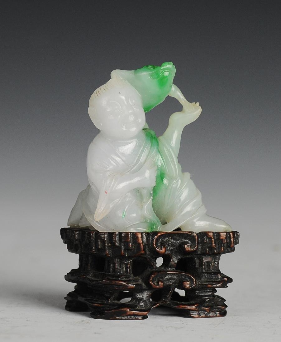 Carved Jadeite Liu Hai with Base, Qing Dynasty