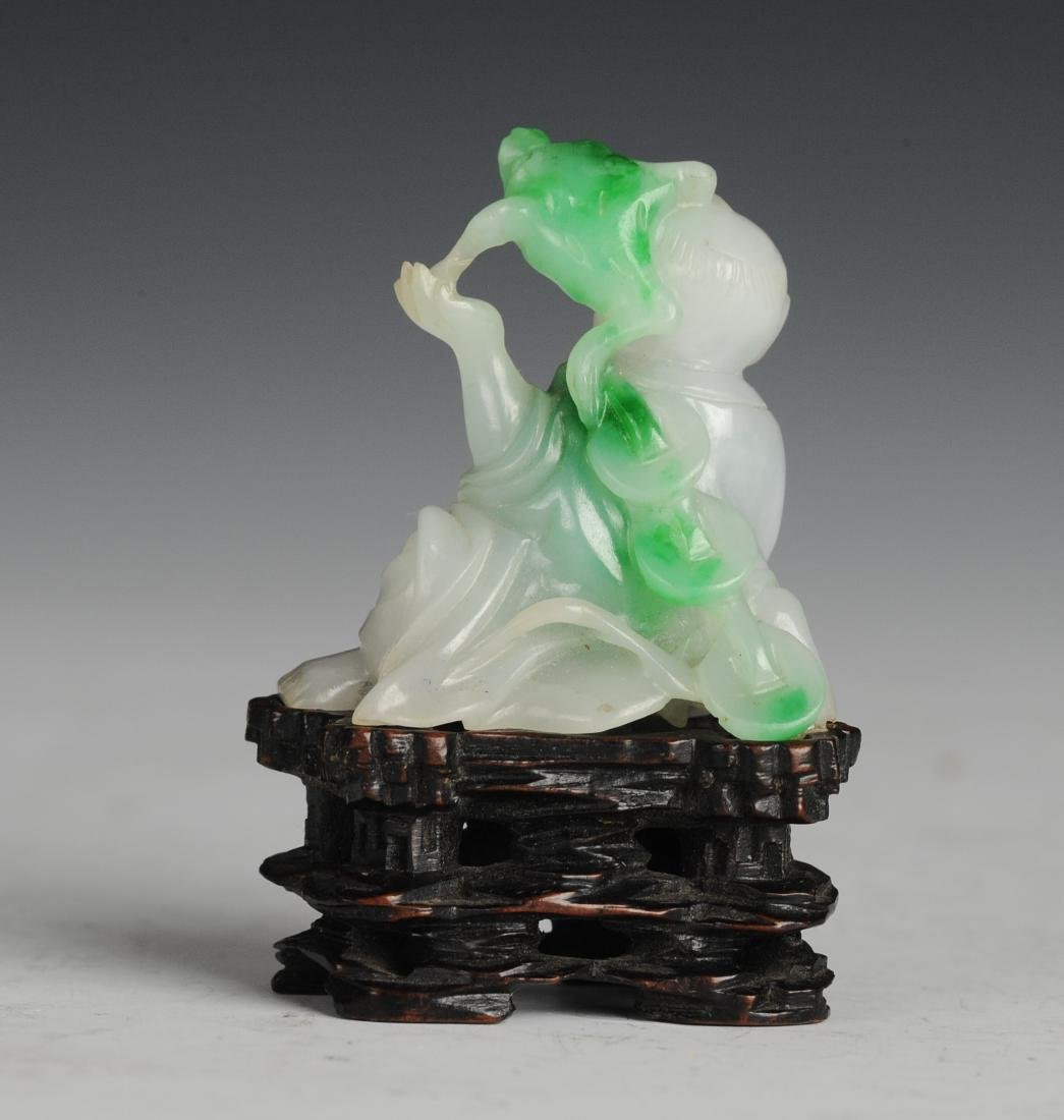 Carved Jadeite Liu Hai with Base, Qing Dynasty - 3