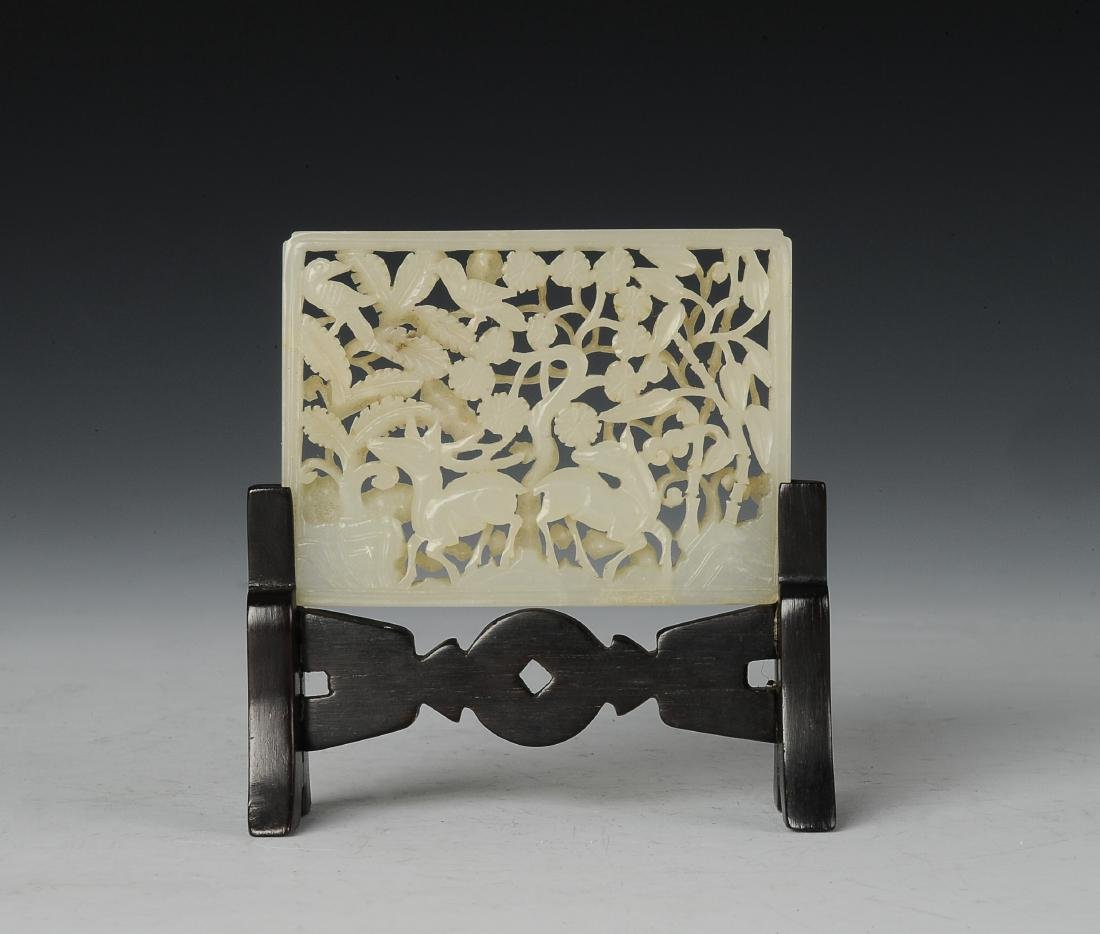 White Jade Openwork Plaque with Stand, Ming Dynasty