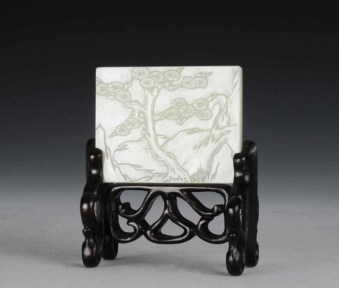 White Jade Belt Buckle with Stand, Ming Dynasty