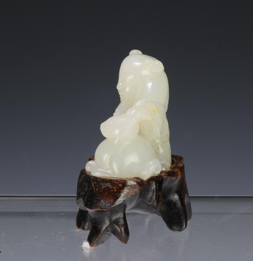 Jade Carving of a Boy & Cat, 18th - 19th Century - 4