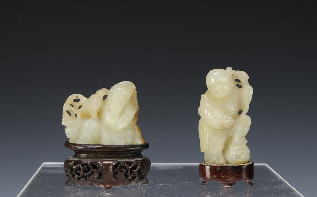 Two Carved Jade Figures, 18th - 19th Century