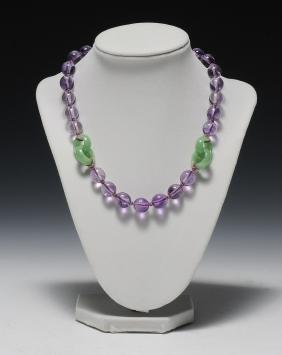 Jadeite & Crystal Necklace, 19th Century