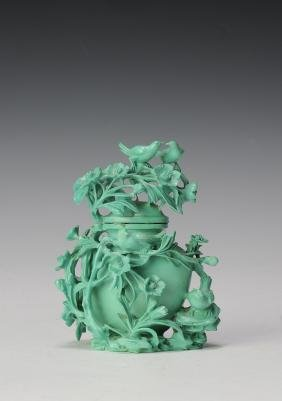 Small Turquoise Vase Carved with Flowers, 1950's