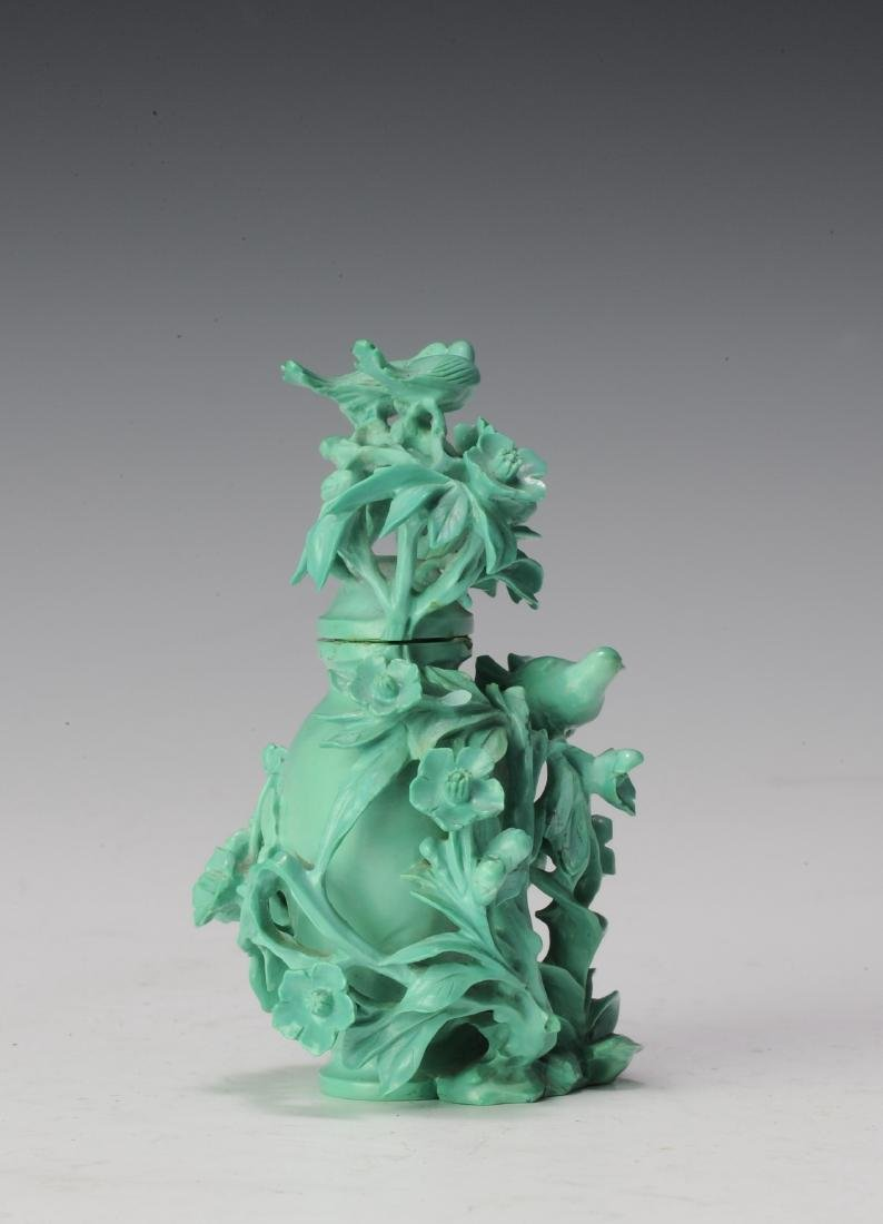 Small Turquoise Vase Carved with Flowers, 1950's - 2