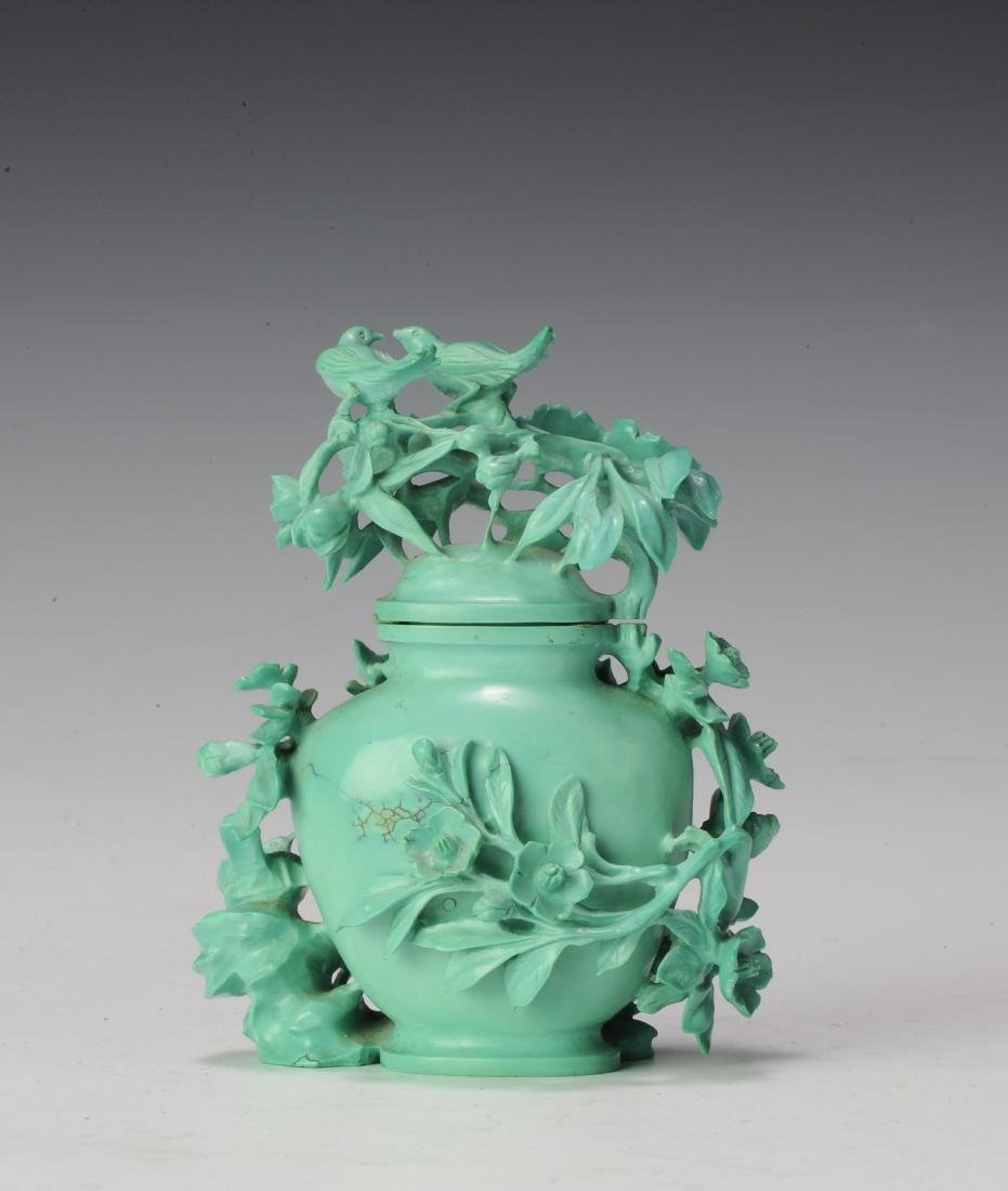 Small Turquoise Vase Carved with Flowers, 1950's - 3