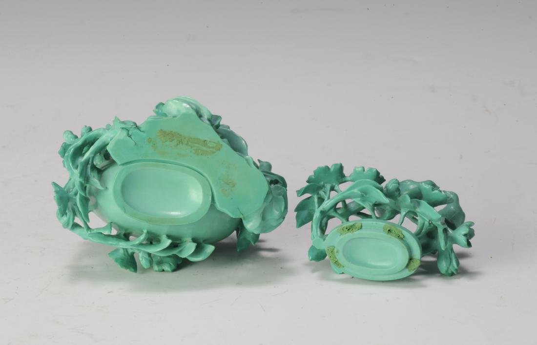 Small Turquoise Vase Carved with Flowers, 1950's - 6