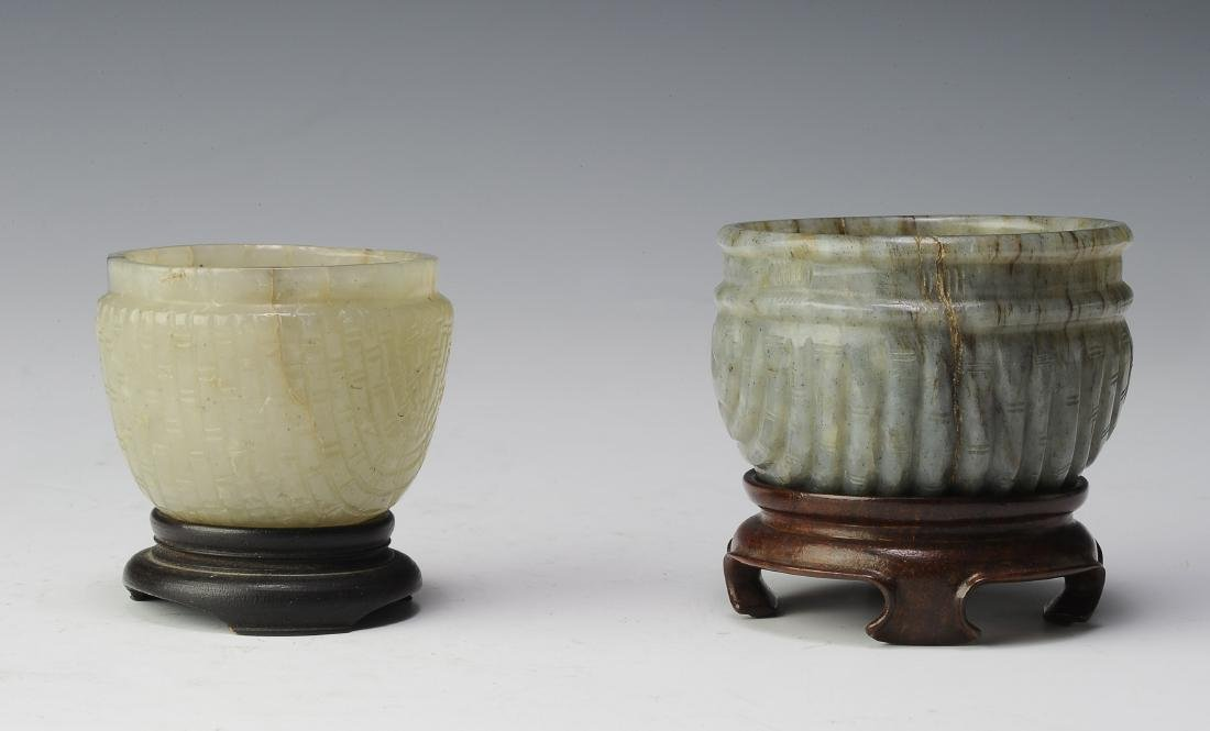 Two Jade Brush Washers, Ming Dynasty