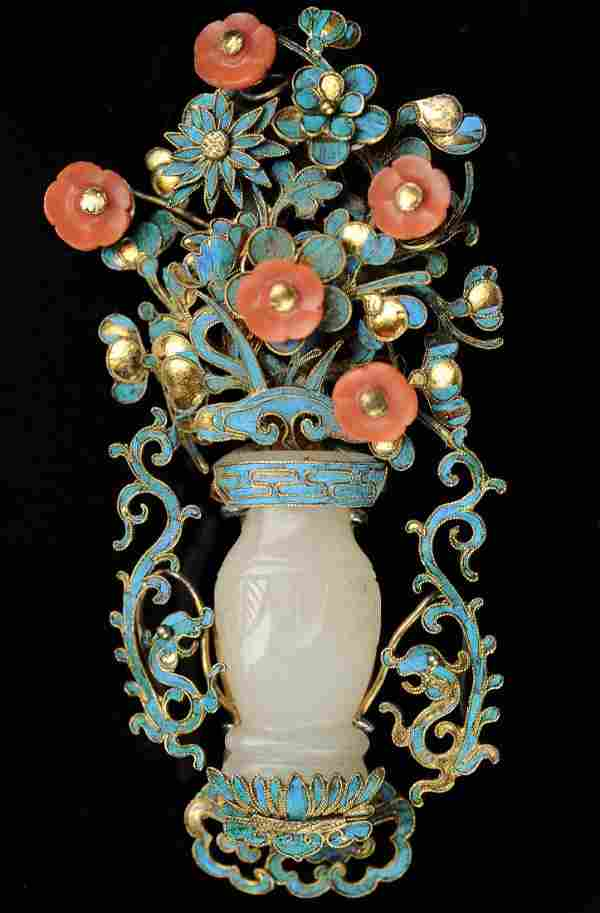 Metal Pin with Jade Vase & Coral Flowers, 19th Century