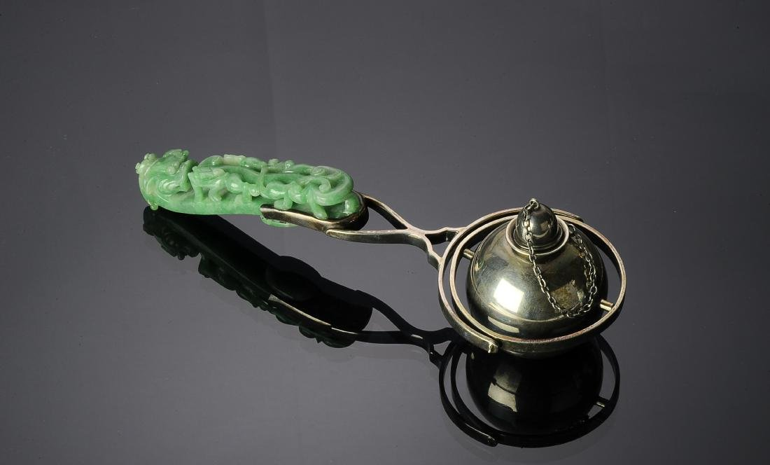 Silver Lighter & Jadeite Dragon Hook Handle 19th C