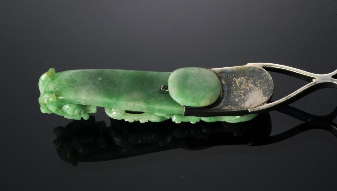 Silver Lighter & Jadeite Dragon Hook Handle 19th C - 7