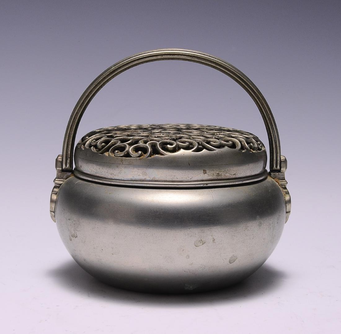 Metal Hand Warmer with Ruyi Pattern, 19th Century