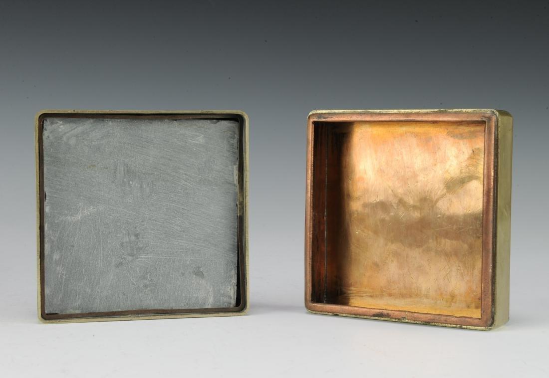 Brass & Copper Ink Box for Qiu Zhiren, Republic Period - 8