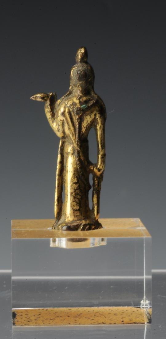 Small Gilt Bronze Buddha, Tang Dynasty or Earlier - 3