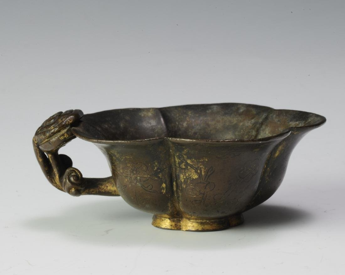 Gilt Bronze Flower Cup, Ming Dynasty - 3