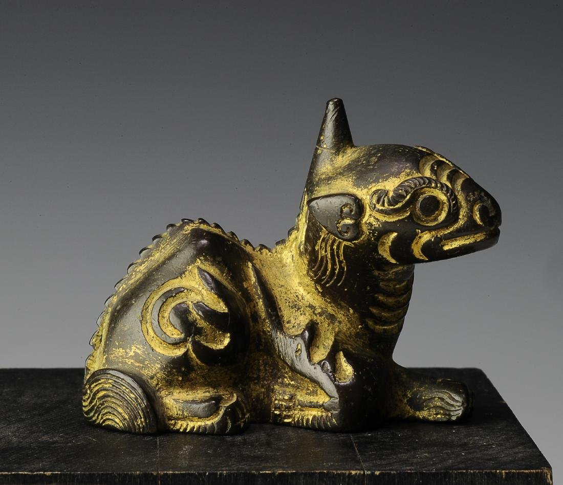 Gilt Bronze Qilin Paperweight, Ming Dynasty