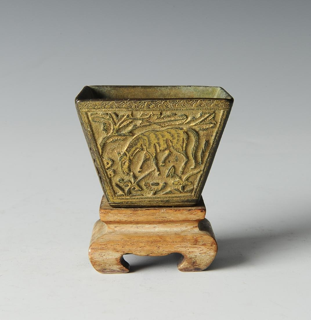 Bronze Incense Burner w/ Horses, Ming Dynasty