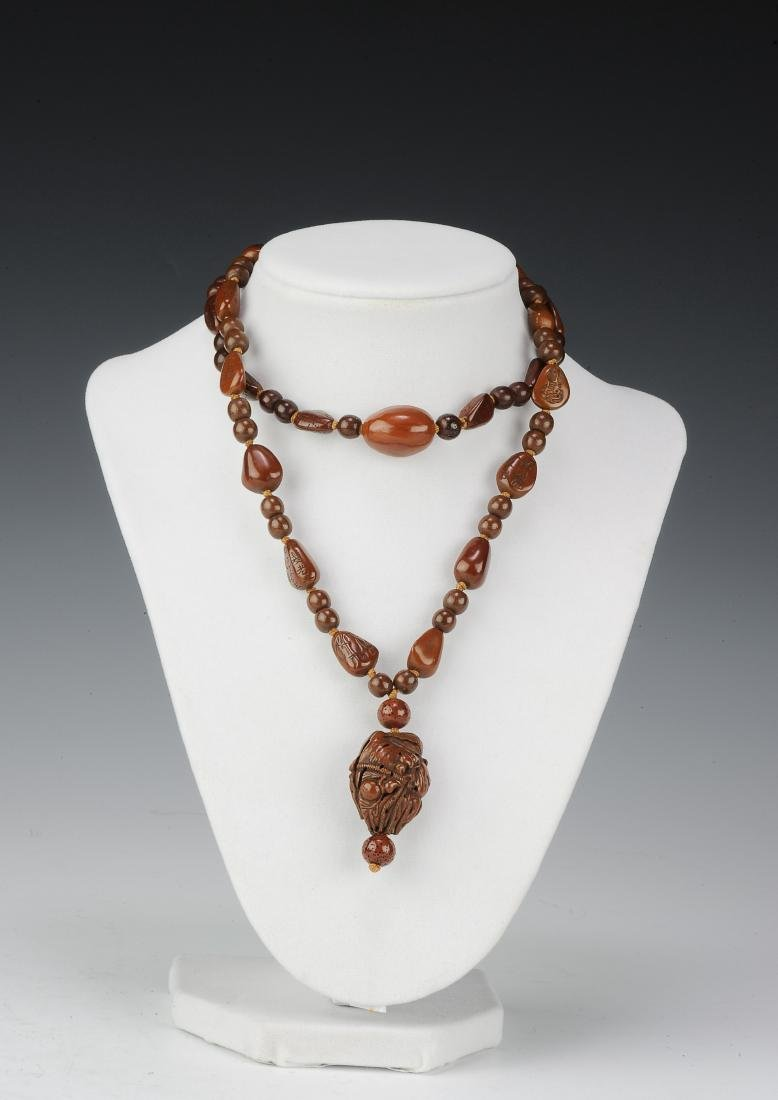 Carved Pine Nut Necklace, 18th - 19th Century