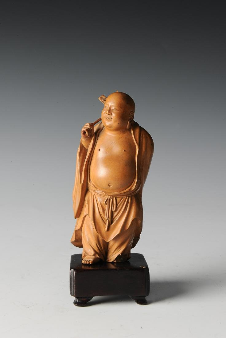 Boxwood Monk Carving with Wooden Stand, 19th Century