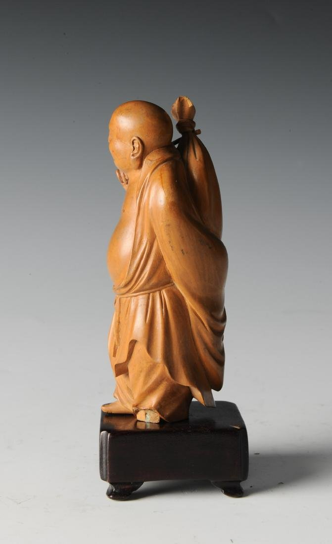 Boxwood Monk Carving with Wooden Stand, 19th Century - 2