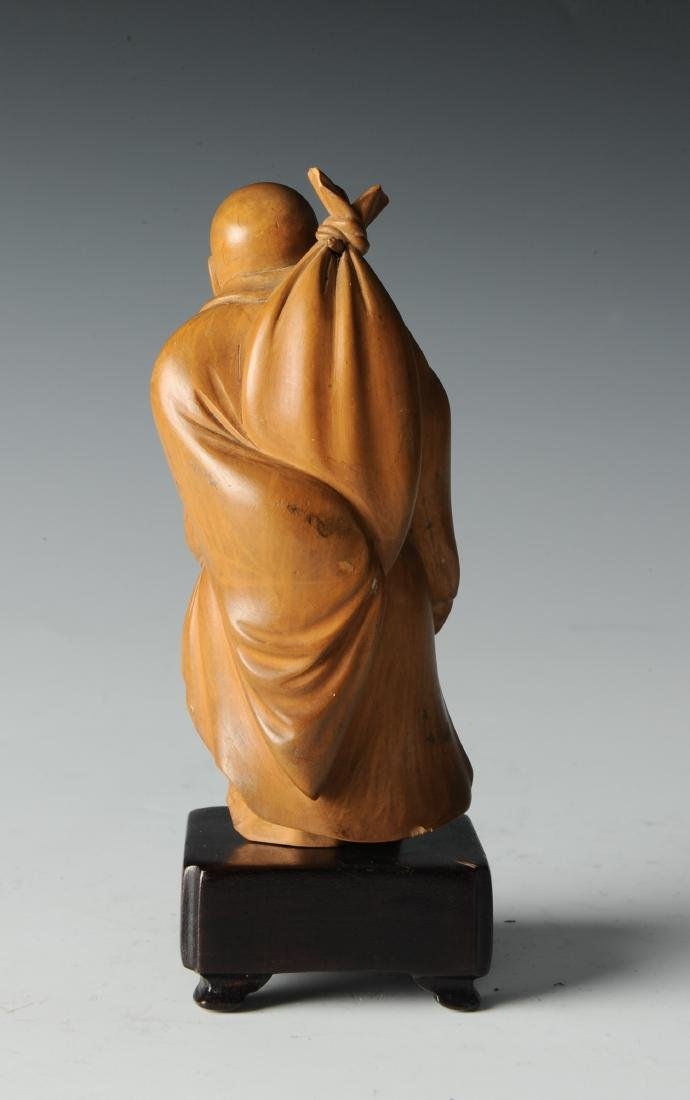 Boxwood Monk Carving with Wooden Stand, 19th Century - 3