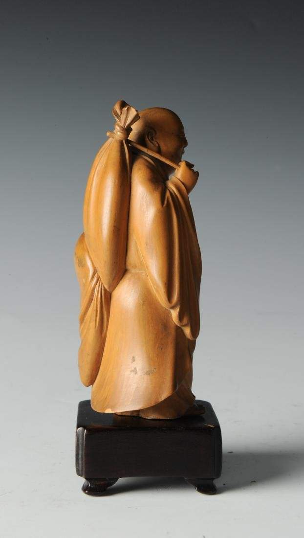Boxwood Monk Carving with Wooden Stand, 19th Century - 4