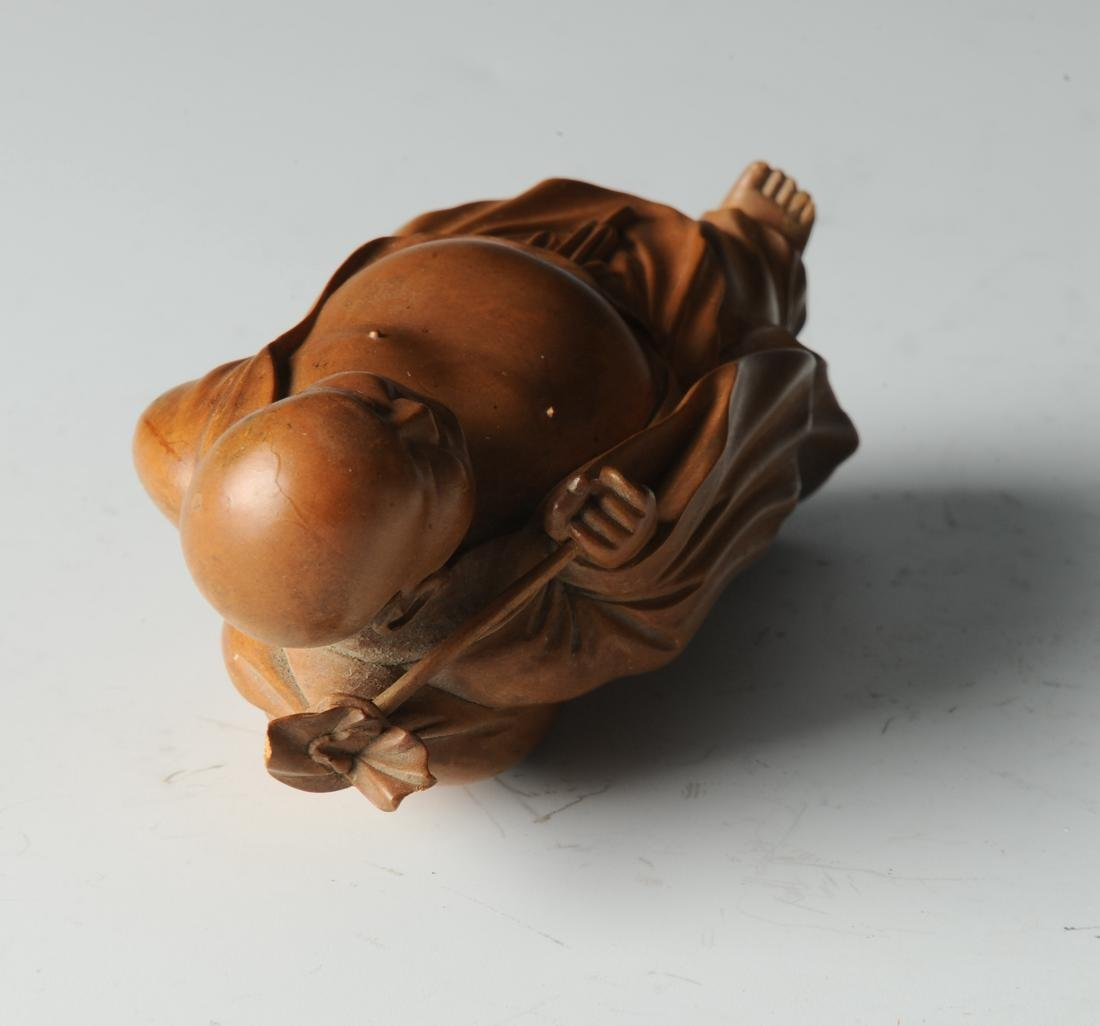 Boxwood Monk Carving with Wooden Stand, 19th Century - 5