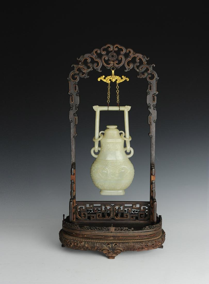 White Jade Vase with Wood Stand, Qing Dynasty