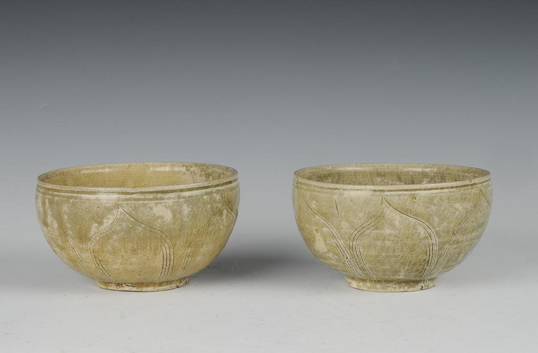 Two Carved Yue Glaze Celadon Bowls, Eastern Jin Dynasty