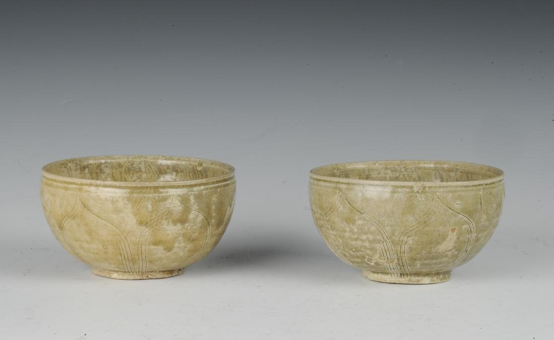 Two Carved Yue Glaze Celadon Bowls, Eastern Jin Dynasty - 2