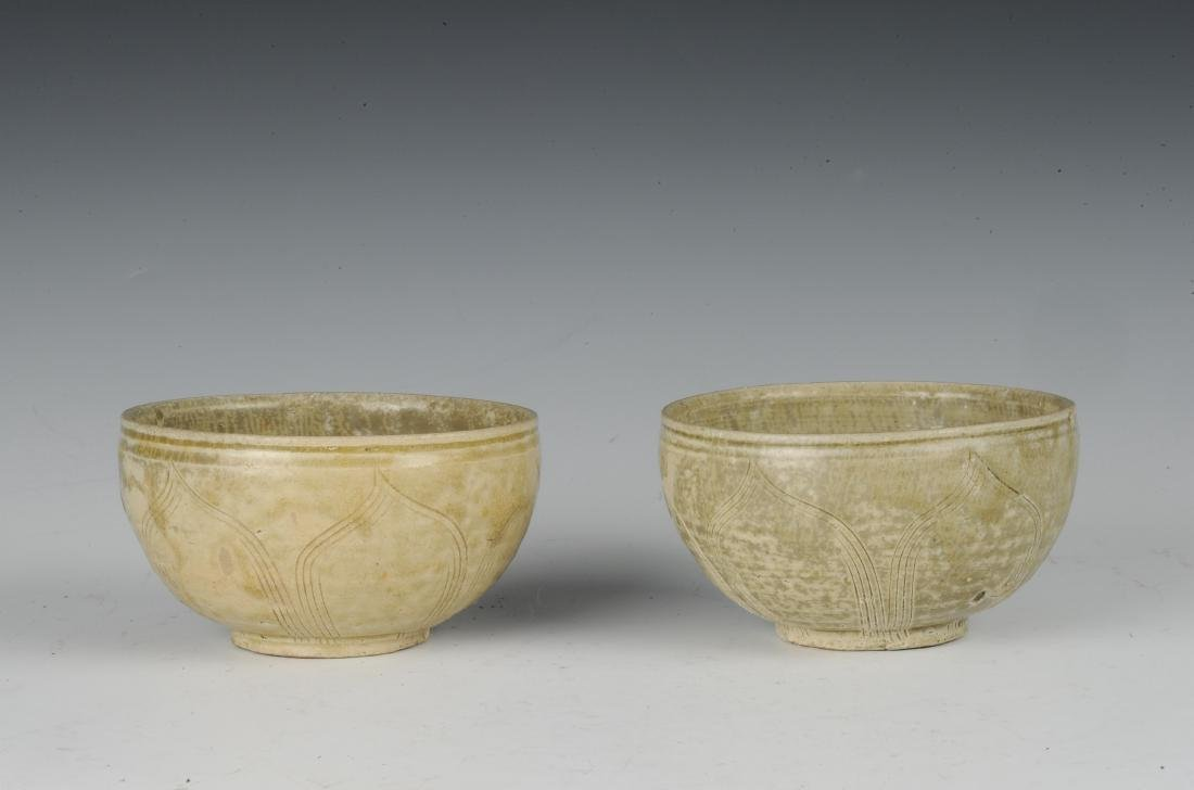 Two Carved Yue Glaze Celadon Bowls, Eastern Jin Dynasty - 3
