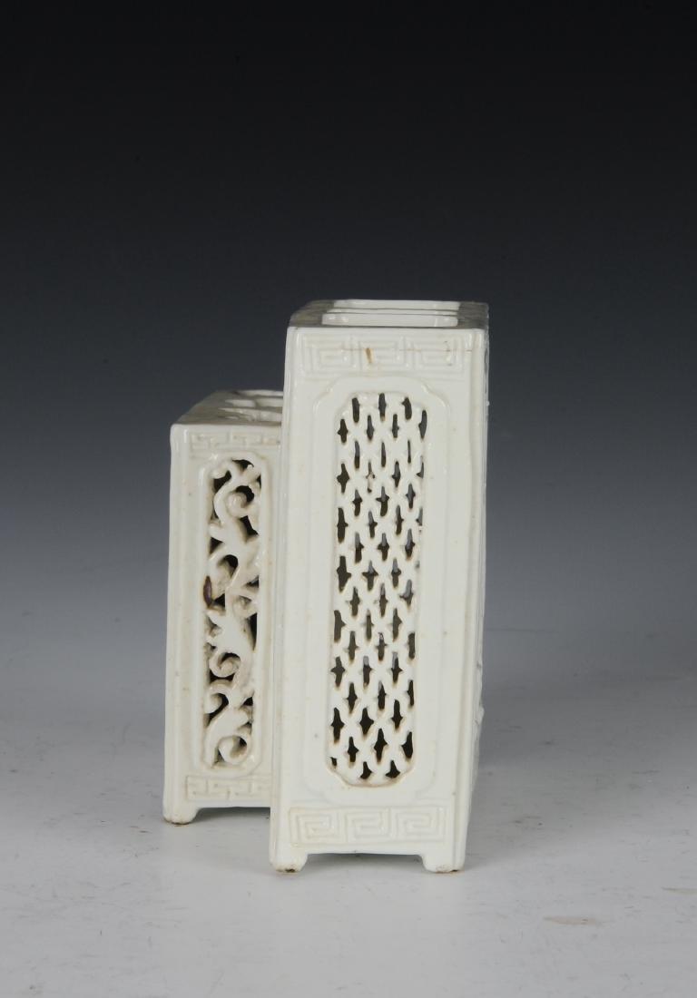White Glaze Brush Holder, Late 19th Century - 2