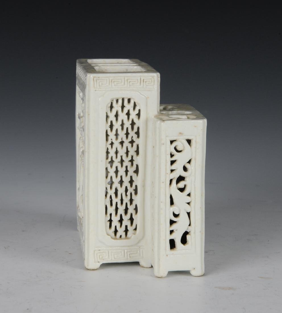 White Glaze Brush Holder, Late 19th Century - 4